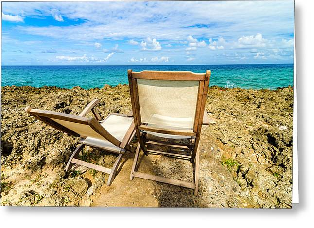 Ocean Landscape Greeting Cards - Caribbean Beach Chairs Greeting Card by Jess Kraft