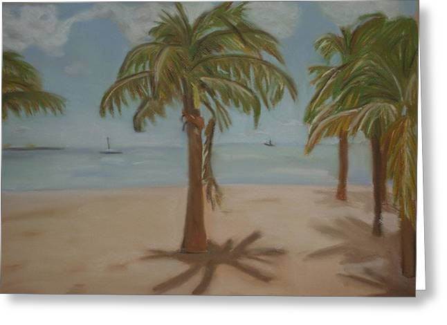 Thomas Pastels Greeting Cards - Caribbean Beach Scene Greeting Card by Kathy Mota