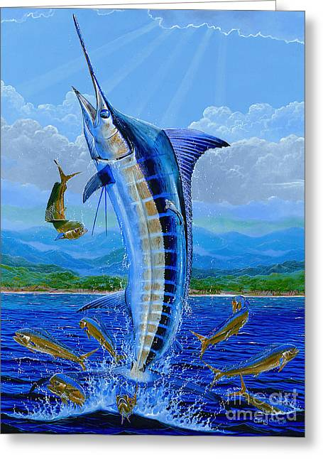 Gamefish Greeting Cards - Caribbean blue Off0041 Greeting Card by Carey Chen
