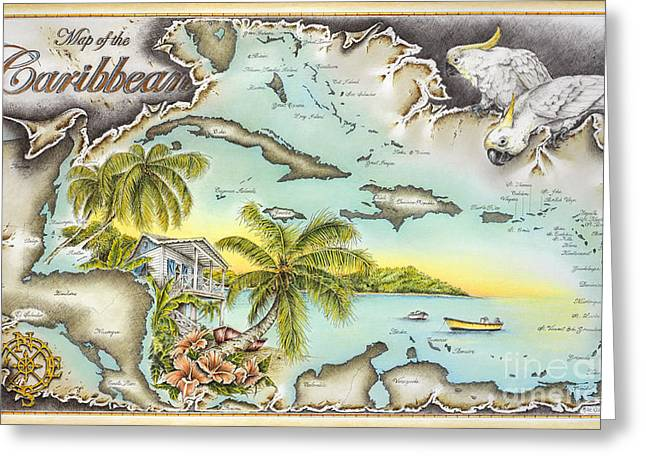 Puerto Rico Pastels Greeting Cards - Caribbean Castaway Greeting Card by Mike Williams