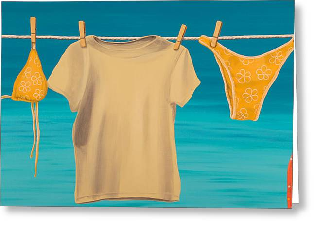 Recently Sold -  - Salmon Paintings Greeting Cards - Caribbean Clothesline II Greeting Card by Matthew Haddaway