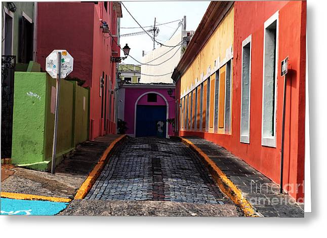 Old San Juan Greeting Cards - Caribbean Colors of San Juan Greeting Card by John Rizzuto