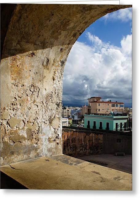 Caribbean Colors Of San Juan Puerto Rico From A Window Of San Cristobal Castle Greeting Card by Georgia Mizuleva
