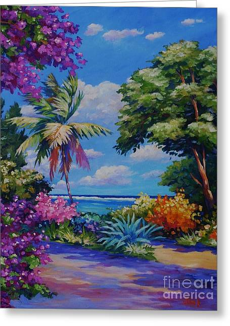Pink Road Greeting Cards - Caribbean Colours Greeting Card by John Clark