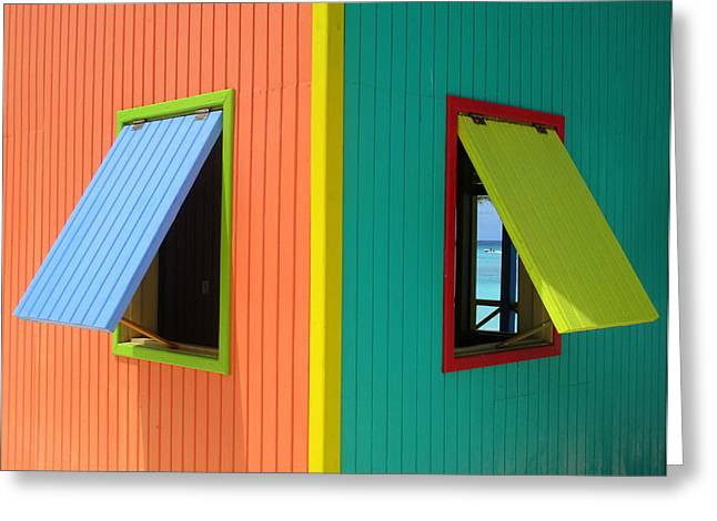 Cabin Window Greeting Cards - Caribbean Corner 4 Greeting Card by Randall Weidner