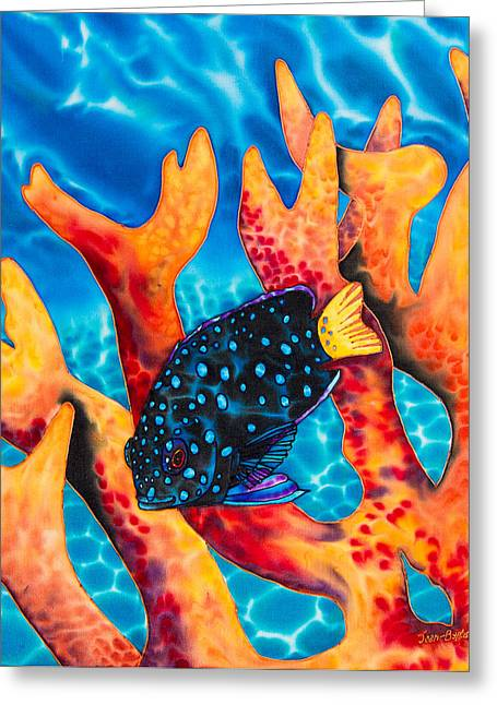 Tropical Fish Greeting Cards - Caribbean Damselfish Greeting Card by Daniel Jean-Baptiste