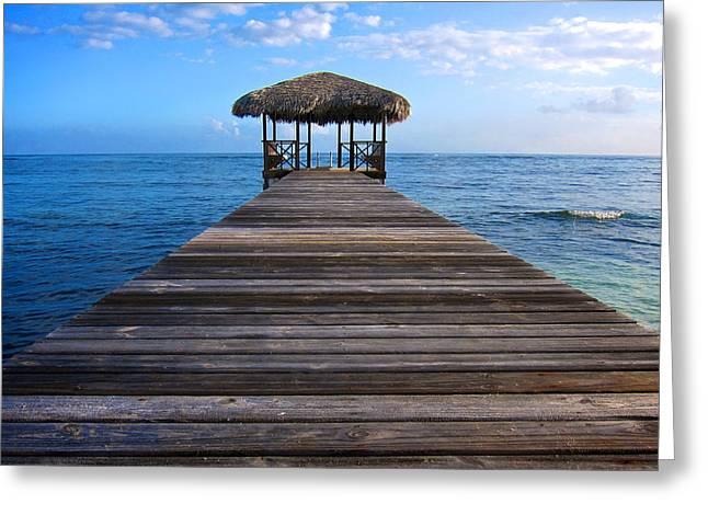 Snorkel Greeting Cards - Caribbean Dock Greeting Card by Mary Lee Dereske