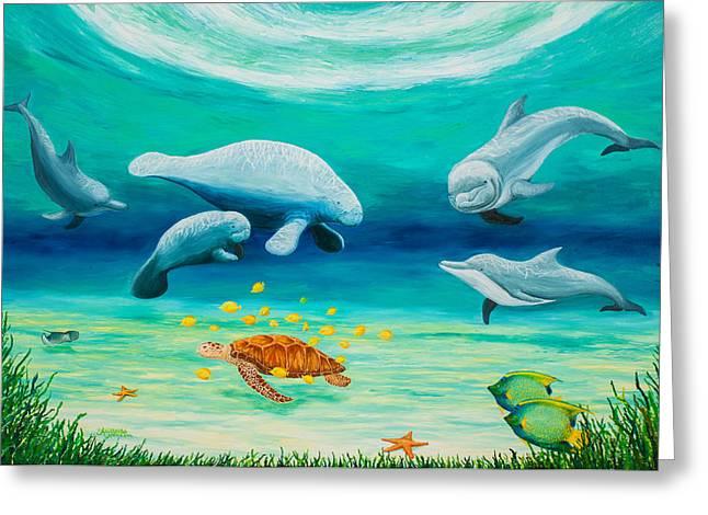 Green Sea Turtle Paintings Greeting Cards - Caribbean Dreams Greeting Card by Alexandra Nicole Newton