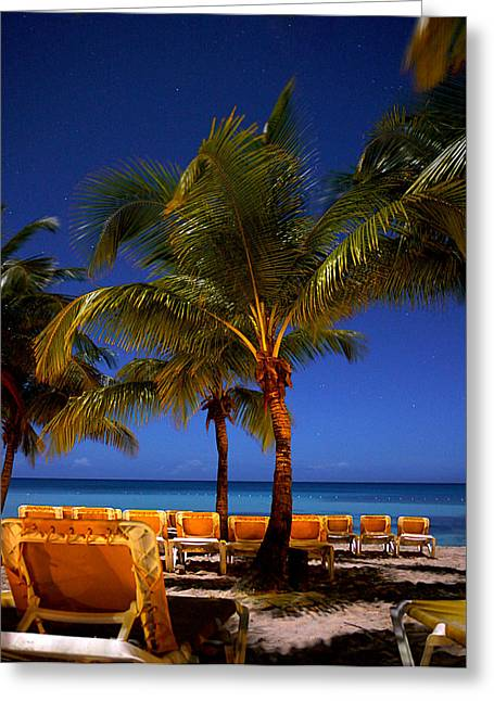 Moon Beach Greeting Cards - Caribbean Night 3 Greeting Card by Pamela Guajardo-Lagos