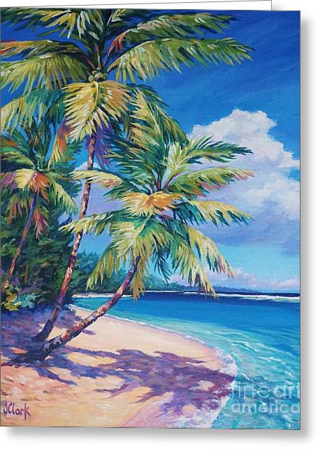 Acrylic Art Paintings Greeting Cards - Caribbean Paradise Greeting Card by John Clark