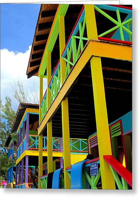 Cabin Window Greeting Cards - Caribbean Porches Greeting Card by Randall Weidner