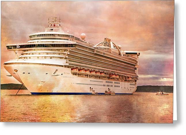 Boat Cruise Greeting Cards - Caribbean Princess in a Different Light Greeting Card by Betsy A  Cutler