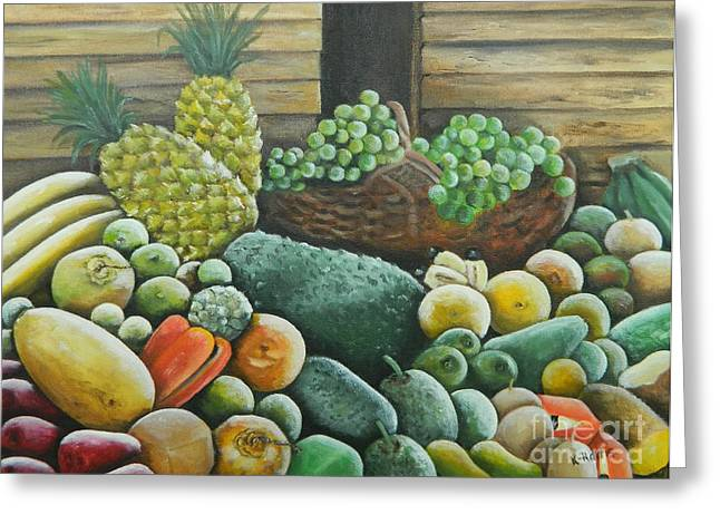 Mango Paintings Greeting Cards - Caribbean Produce Greeting Card by Kenneth Harris