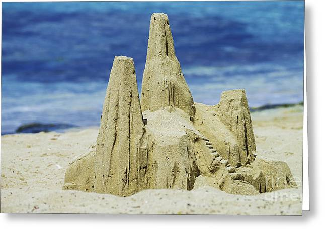 Sand Castles Greeting Cards - Caribbean Sand Castle  Greeting Card by Betty LaRue