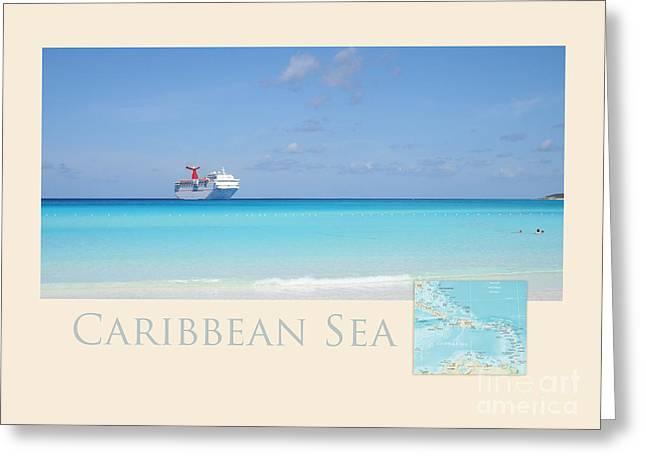 Sandy Beaches Greeting Cards - Caribbean Sea Greeting Card by Heidi Hermes