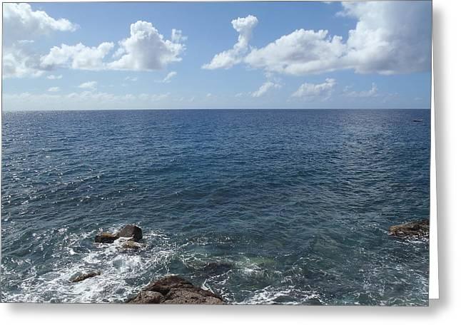 Saba Rock Greeting Cards - Caribbean Sea on the Rocks Greeting Card by Senske Art