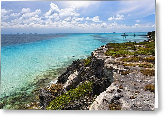 Isla Mujeres Greeting Cards - Caribbean Shoreline at Punta Sur Greeting Card by George Oze