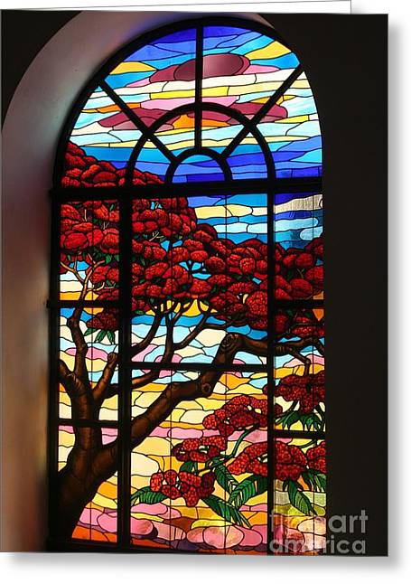 Hall Glass Art Greeting Cards - Caribbean Stained Glass  Greeting Card by The Art of Alice Terrill