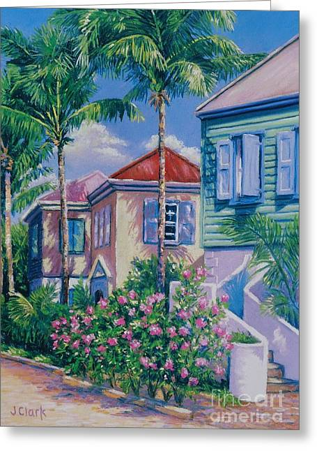 Caribbean Architecture Greeting Cards - Caribbean Style   9x13 Greeting Card by John Clark