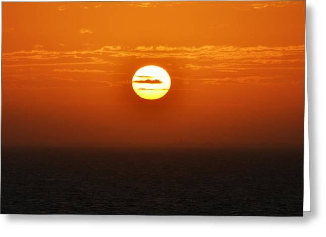 Ocean Vista Greeting Cards - Caribbean Sunrise over Cozumel Mexico Square Format Greeting Card by Shawn O