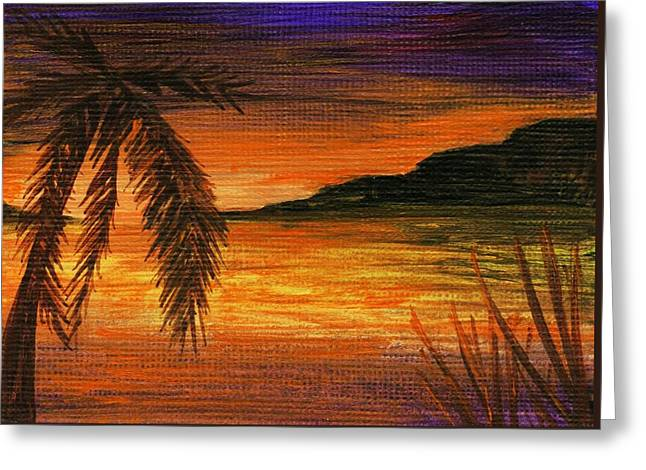 Beach Prints Drawings Greeting Cards - Caribbean Sunset Greeting Card by Anastasiya Malakhova