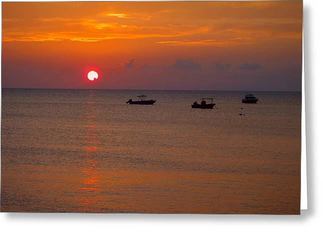 Caribbean Sunset Greeting Card by Carey Chen