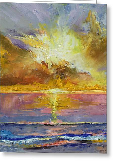 Caribbean Sunset Greeting Cards - Caribbean Sunset Greeting Card by Michael Creese