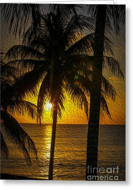 Chang Greeting Cards - Caribbean sunset Greeting Card by Patricia Hofmeester