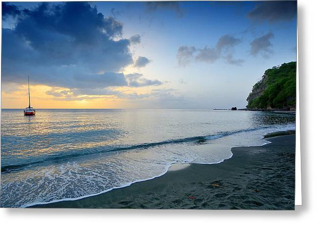 Caribbean Sunset Greeting Cards - Caribbean Sunset - St. Lucia Greeting Card by Brendan Reals