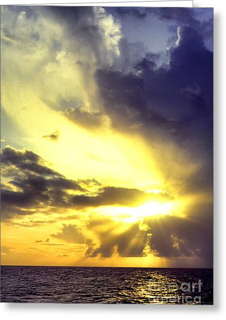 Crepuscular Rays Greeting Cards - Caribbean Sunset Greeting Card by Thomas R Fletcher