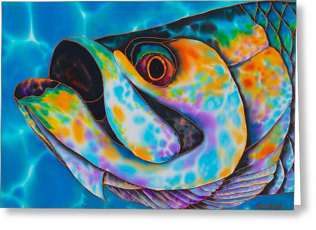 Actions Tapestries - Textiles Greeting Cards - Caribbean Tarpon Fish Greeting Card by Daniel Jean-Baptiste