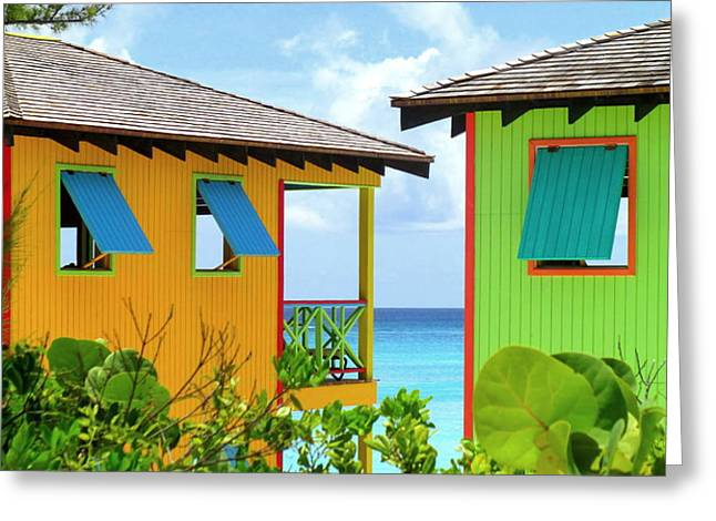 Caribbean Village Greeting Card by Randall Weidner