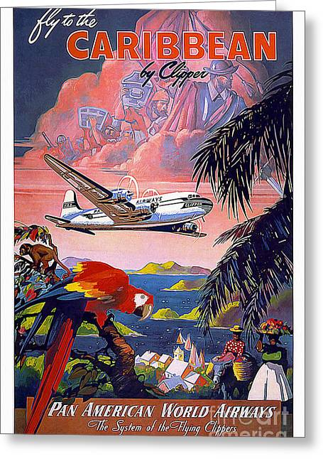 Airline Greeting Cards - Caribbean Vintage Travel Poster Greeting Card by Jon Neidert