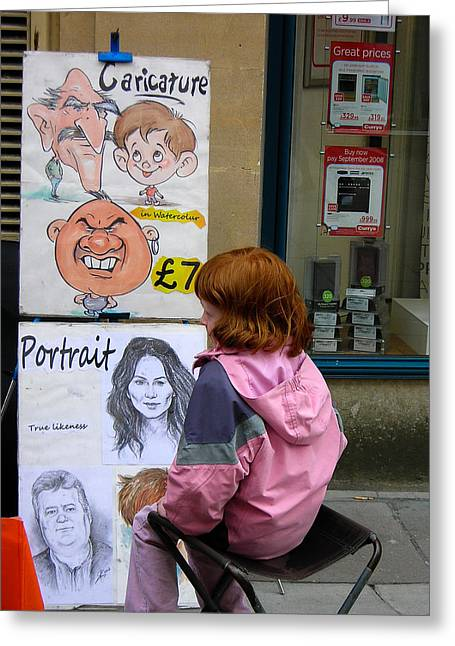Geobob Greeting Cards - Caricature and Portrait Painter Subject Redhead Child Bath Somerset England Greeting Card by Robert Ford