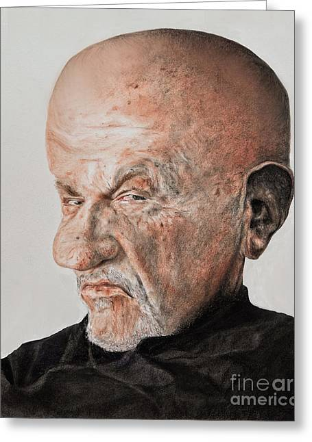 Bad Drawing Greeting Cards - Caricature of Actor Jonathan Banks as Mike Ehrmantraut in Breaking Bad Greeting Card by Jim Fitzpatrick