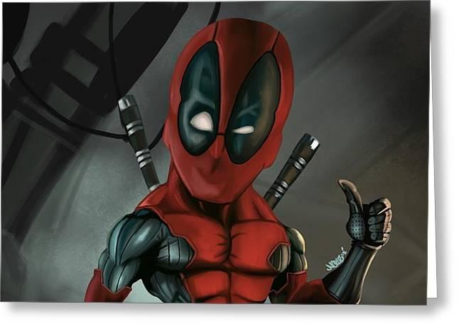 Caricature Of Deadpool Greeting Card by Nathan Craig Cruz