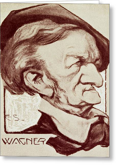 Nose Drawings Greeting Cards - Caricature of Richard Wagner Greeting Card by Anonymous