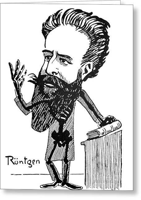 Die Karikatur Und Satire In Der Medizin Greeting Cards - Caricature Of Roentgen And X-rays Greeting Card by Spl