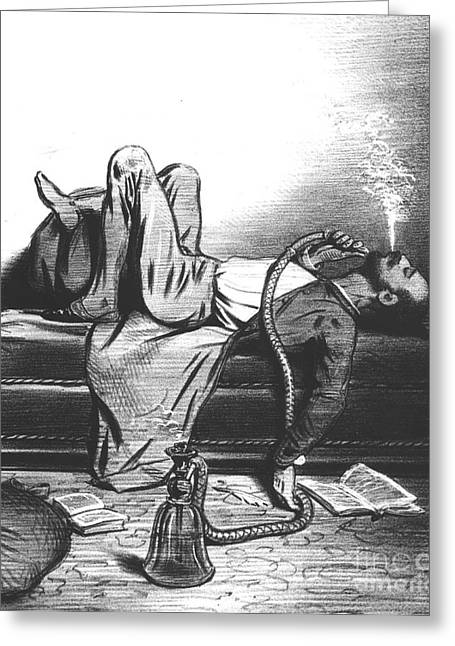 Chaise Greeting Cards - Caricature of the Romantic Writer searching his inspiration in the Hashish Greeting Card by French School