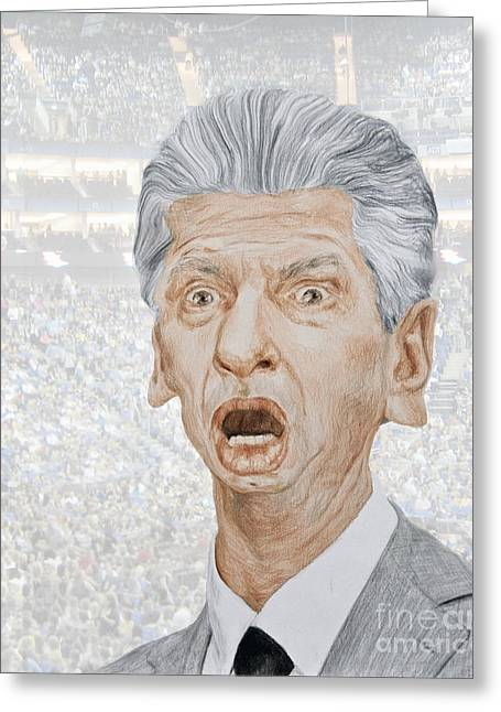 Vince Greeting Cards - Caricature of WWE Owner Vince McMahon Greeting Card by Jim Fitzpatrick