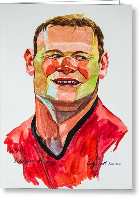 Wayne Rooney Greeting Cards - Caricature wayne rooney Greeting Card by Ubon Shinghasin