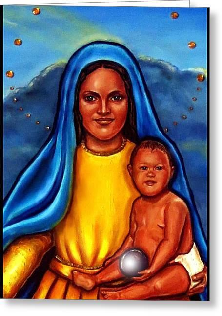 Baby Jesus Mixed Media Greeting Cards - Caridad del Cobre-3 Greeting Card by Carmen Cordova