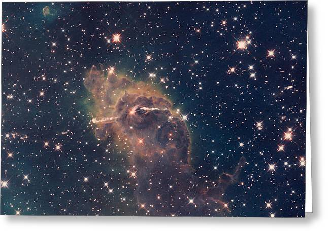 Interstellar Space Mixed Media Greeting Cards - Carina Nebula Composite Visible and Infrared Hubble Telescope Greeting Card by L Brown