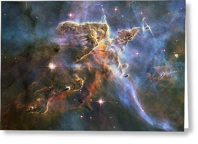 Haro Greeting Cards - Carina Nebula features, HST image Greeting Card by Science Photo Library