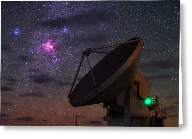 Carina Nebula Over Alma Telescope Greeting Card by Babak Tafreshi