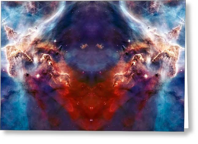 Nebula Images Greeting Cards - Carina Nebula Pillar 2 Greeting Card by The  Vault - Jennifer Rondinelli Reilly