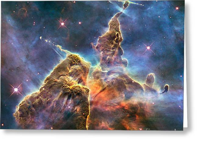 Celestial Pillars.celestial Greeting Cards - Carina Nebula Greeting Card by Science Source