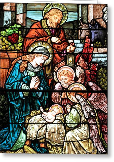 Caring For Baby Jesus Greeting Card by Adam Jewell