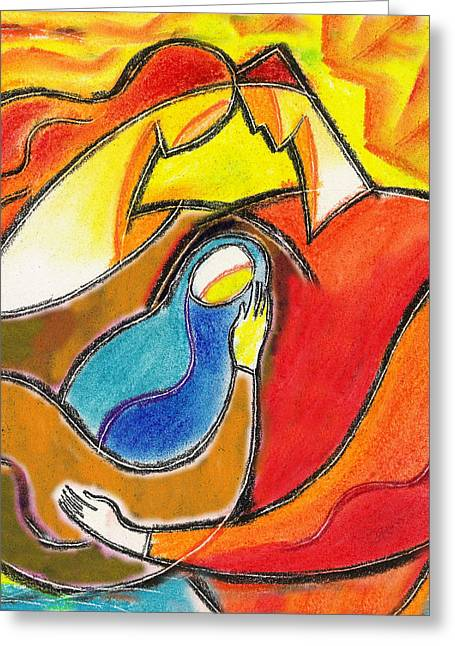 Caring Mother Paintings Greeting Cards - Caring Greeting Card by Leon Zernitsky