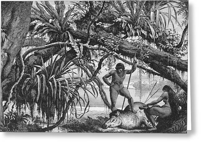 Hunting Greeting Cards - Caripuna Indians With Tapir, From The Amazon And Madeira Rivers, By Franz Keller, 1874 Engraving Greeting Card by American School